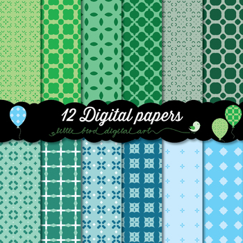 Happy Colors - 12 Digital Papers in Blue, Turquoise and Green