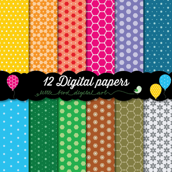Happy Colors - 12 Digital Papers in Yellow, Orange, Red, Green, Blue, Purple...