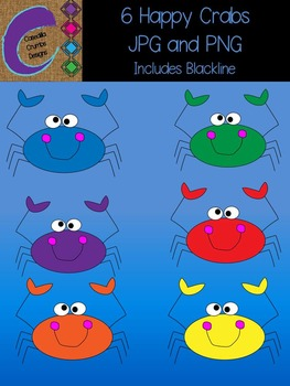 Happy Crabs Clip Art Graphics Set with 6 different colors includes blacklines