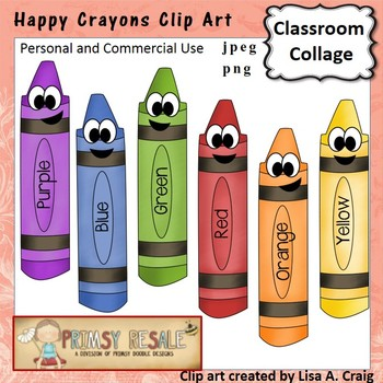 Happy Crayons Clip Art Color  personal & commercial use