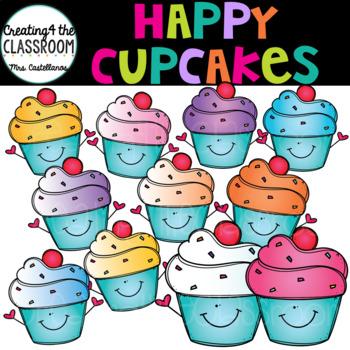 Happy Cup Cakes Clip Art {Cupcakes Clip Art}