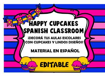 Happy Cupcake Spanish Classroom Decoration