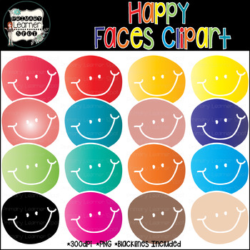 Happy Day! Happy Faces! 20 Gradient {VECTOR} Graphics 300ppi_PNG_Transparent