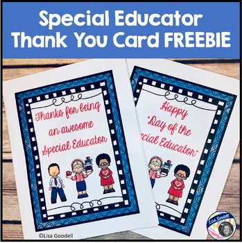 """Happy """"Day of the Special Educator"""" thank you card FREEBIE"""