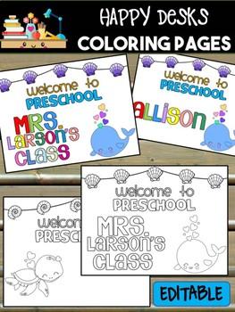 Happy Desk Coloring Sheets - First Day of School - Preschool, Editable Ocean Sea