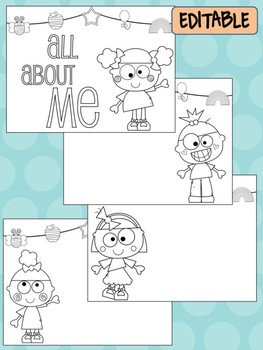 Happy Desk Coloring Sheets - All About Me, Pages, Kids, Editable pages, poster