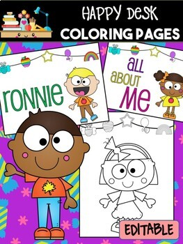 Kids Happy Desk Editable Coloring Pages, Name First Last Day School, End of Year