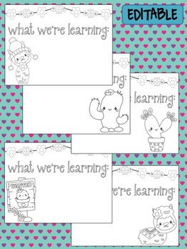 Happy Desk Coloring Sheets - Alpacas and Cactus, Editable Pages Papers, Phonics