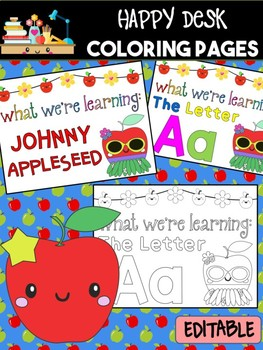 Happy Desk Coloring Sheets - Apples, Editable Pages and Papers, Alphabet