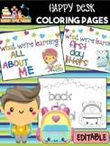 Happy Desk Coloring Sheets - Back to School Kids, Editable Supplies Students