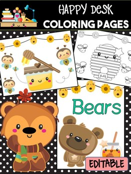 Happy Desk Coloring Sheets - Bees and Bees, Pages, Apples, Editable pages