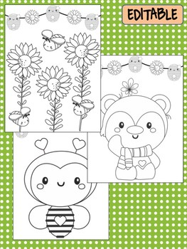 Bears & Bees Happy Desk Coloring Pages, Name, First Last Day School, End of Year