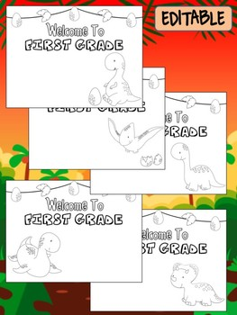 Happy Desk Coloring Sheets First Day of School, First Grade, Editable Dinosaurs