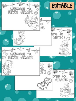 Happy Desk Coloring Sheets - First Day of School, First Grade, Editable Mermaids