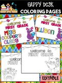 Happy Desk Coloring Sheets - First Day of School, First Grade, Editable Monsters