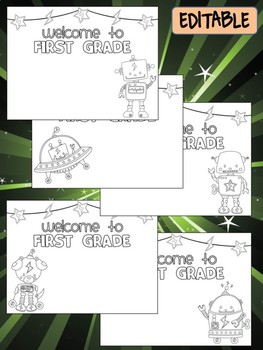 Happy Desk Coloring Sheets - First Day of School, First Grade, Editable Robots