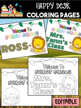 Happy Desk Coloring Sheets - First Day of School, First Grade, Editable Safari