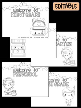 Happy Desk Coloring Sheets - First Day of School, K-2, Editable Back to School