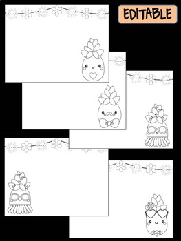 Cute Pineapples - Happy Desk Editable Coloring Pages