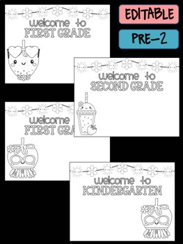 Happy Desk Coloring Sheets - First Day of School, K-2, Editable Strawberries