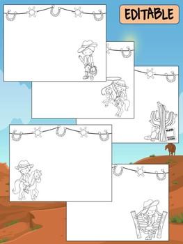 Happy Desk Coloring Sheets First Day of School, Kindergarten, Editable Cowboys