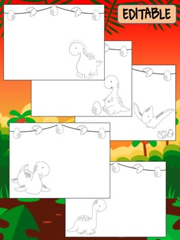 Happy Desk Coloring Sheets First Day of School, Kindergarten, Editable Dinosaurs