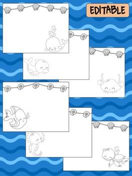 Happy Desk Coloring Sheets - First Day of School - Kindergarten, Editable Ocean