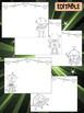 Happy Desk Coloring Sheets - First Day of School, Kindergarten, Editable Robots