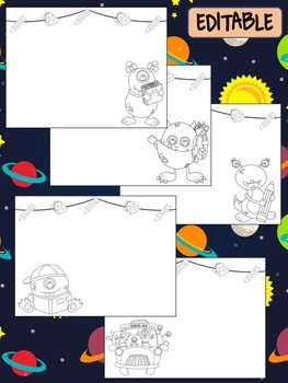 Happy Desk Coloring Sheets - First Day of School, Kindergarten, Monsters