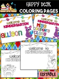 Happy Desk Coloring Sheets - First Day of School, Kinderga