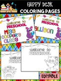 Happy Desk Coloring Sheets - First Day of School, Preschool, Editable Monsters