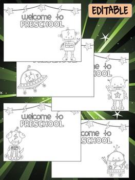 Happy Desk Coloring Sheets - First Day of School, Preschool, Editable Robots