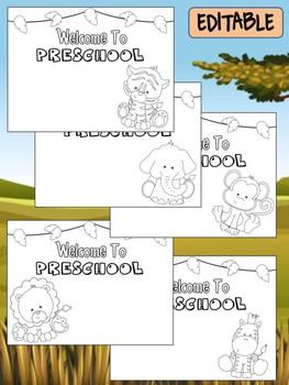 Happy Desk Coloring Sheets - First Day of School, Preschool, Editable Safari