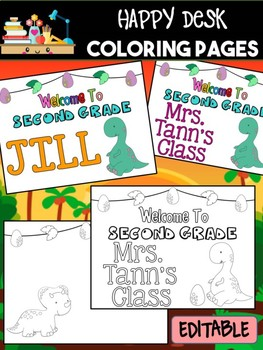 Happy Desk Coloring Sheets First Day of School, Second Grade, Editable Dinosaurs