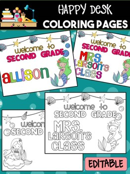 Happy Desk Coloring Sheets - First Day of School, Second Grade,Editable Mermaids