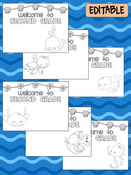 Happy Desk Coloring Sheets - First Day of School - Second Grade, Editable Ocean