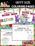 Happy Desk Coloring Sheets - First Day of School, Second Grade, Monsters