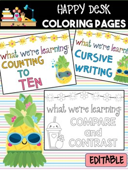 Happy Desk Coloring Sheets - Pineapples, Editable Pages and Papers, Math