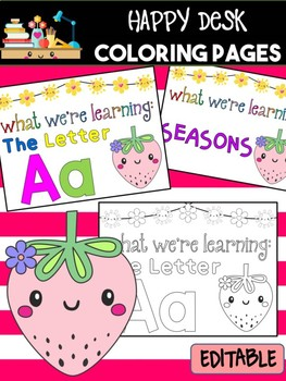 Happy Desk Coloring Sheets - Strawberries, Editable Pages and Papers, Alphabet