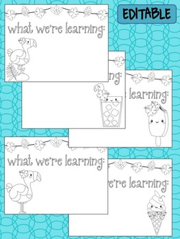 Happy Desk Coloring Sheets - Tropical Flamingos, Editable Pages Papers, Phonics