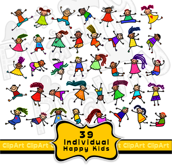 Happy Diverse Kids Clipart Collection