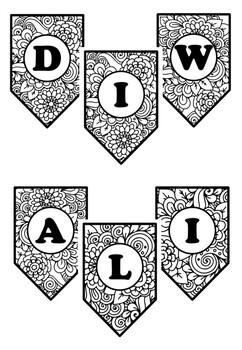 Happy Diwali, Pennant Banner, Bulletin Board Letters, Pattern Coloring, Art Plan