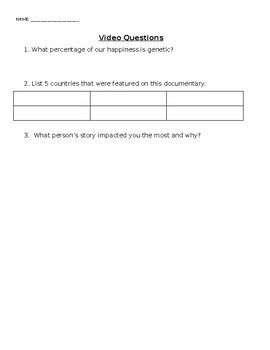 Happy Documentary Viewing Questions