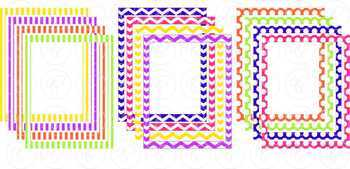 Happy Doodle Frames and Labels Digital Borders Clipart by Poppydreamz