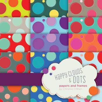 Happy Dots and Clouds Paper and Frame Set