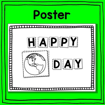 Happy Earth Day Poster and Card Scissoring - An Early Learner Literacy Center