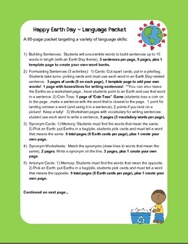 Happy Earth Day ~ Super Language Packet!