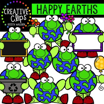 Happy Earths {Creative Clips Digital Clipart}