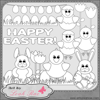 Happy Easter 1 - Art by Leah Rae Clip Art & Line Art / Digital Stamps