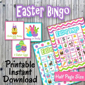 Happy Easter Bingo Cards and Memory Game - Printable - Up to 30 players